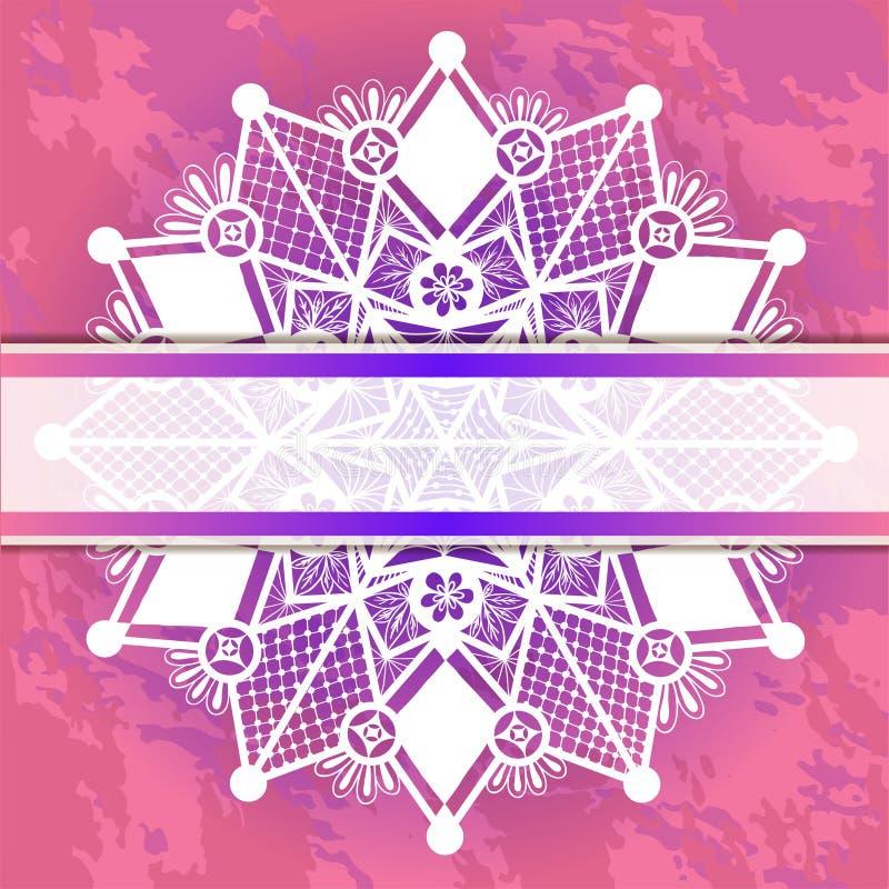 Marco de la plantilla para la tarjeta con el copo de nieve del cordón. libre illustration