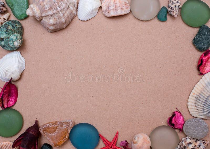 Marco de la plantilla de regalos del mar imagenes de archivo