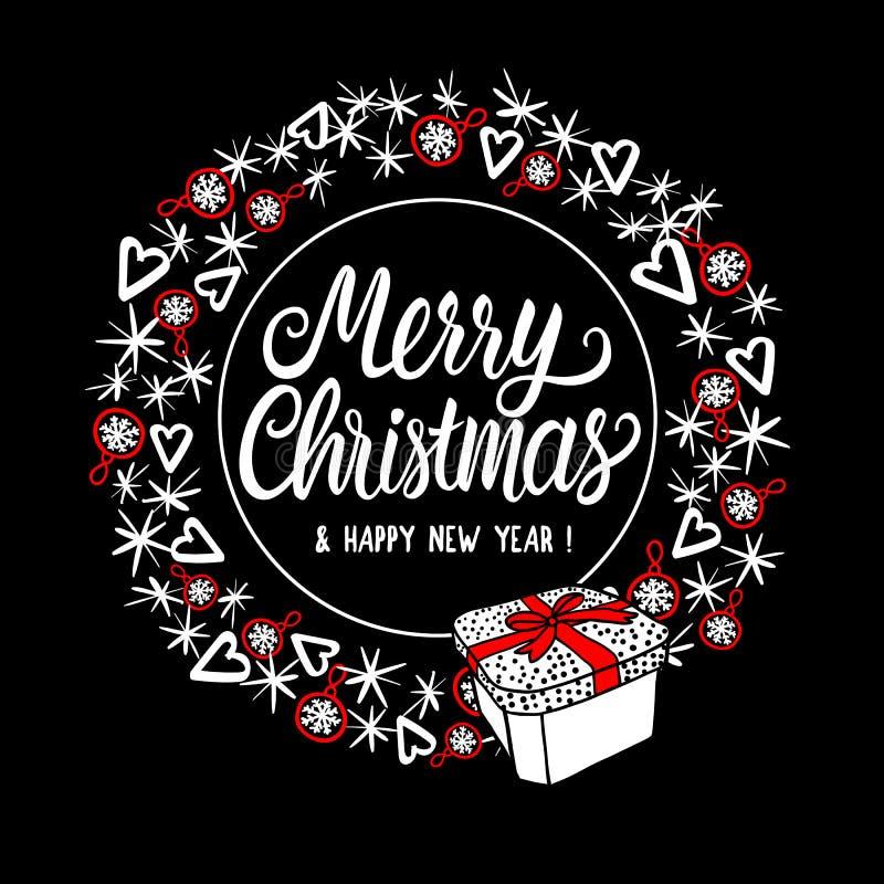 Marco de la ronda de la Feliz Navidad con las letras Diseño abstracto del día de fiesta del estilo de la moda Elementos del ejemp libre illustration