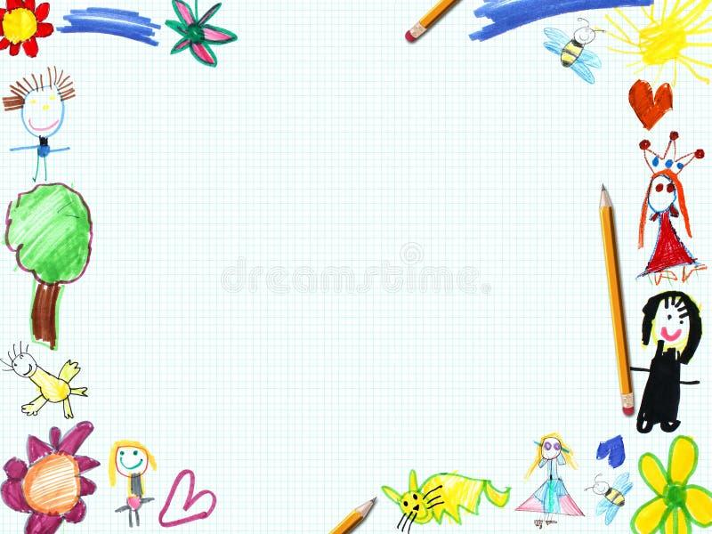 Marco De La Tarjeta De Felicitación Del Niño Stock de ilustración ...