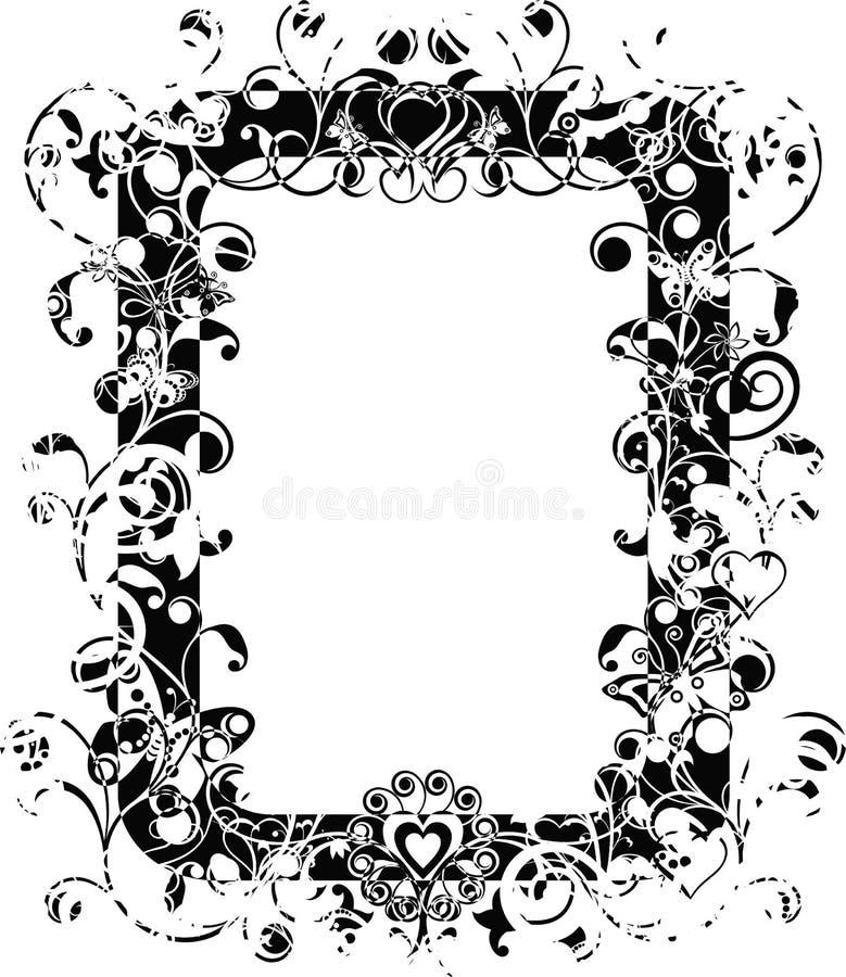Marco de la tarjeta del día de San Valentín de Grunge, vector stock de ilustración