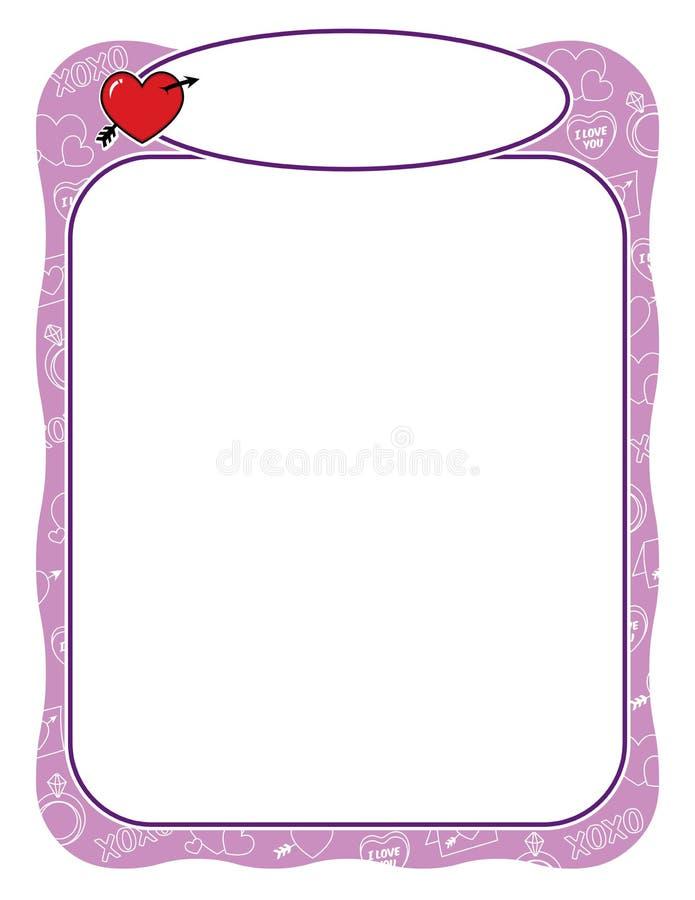 Marco de la tarjeta del día de San Valentín con el corazón y la frontera de la flecha, púrpura y ondulada ilustración del vector