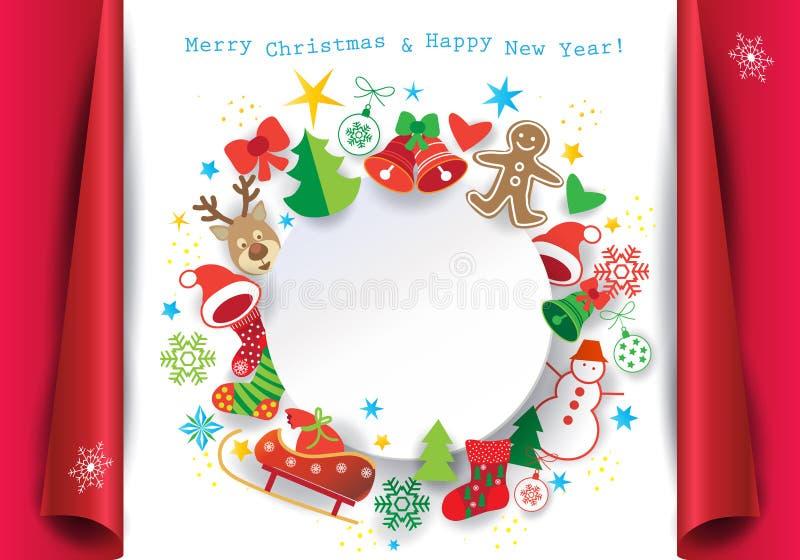 Marco de la tarjeta de felicitación de la Navidad del día de fiesta ilustración del vector
