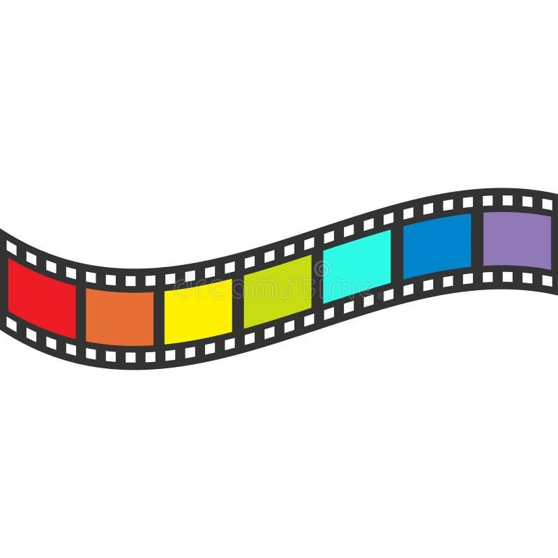 Marco de la tira de la película de la bandera del arco iris Cinta de la forma de onda Elemento del diseño Fondo blanco Símbolo ga libre illustration