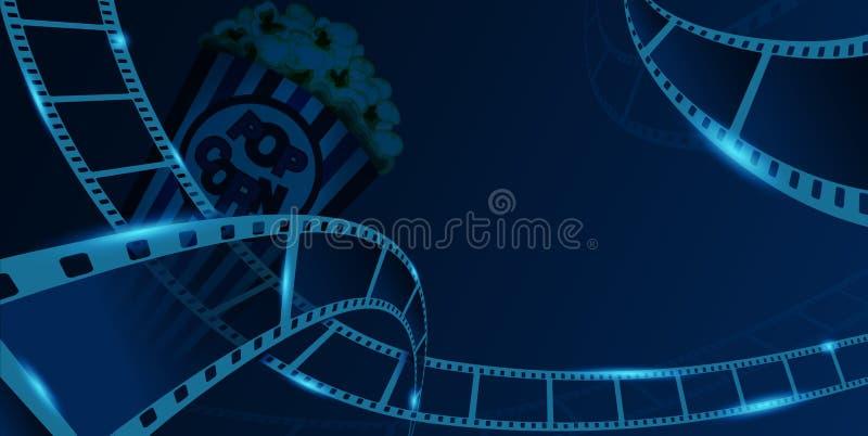 Marco de la tira de la película con la caja de la palomitas de maíz aislada en fondo azul Opinión del primer para la bandera del  libre illustration