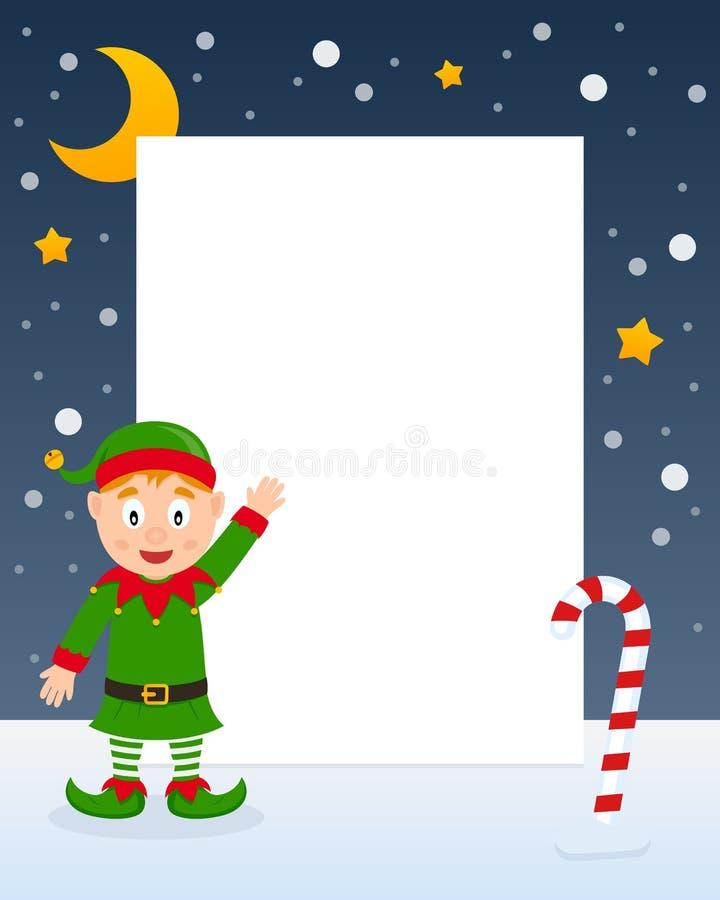 Marco de la vertical del duende de la Navidad ilustración del vector