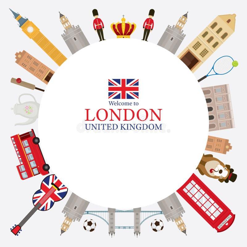Marco de las atracciones turísticas de Londres, de Inglaterra y de Reino Unido libre illustration