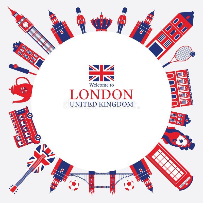 Marco de las atracciones turísticas de Londres, de Inglaterra y de Reino Unido ilustración del vector