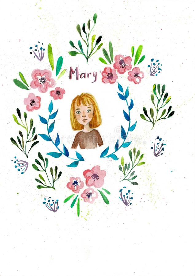 Marco de las flores el en semi-círculo Pintura a mano de la acuarela en el fondo blanco Muchacha linda cómica Perfeccione para la ilustración del vector