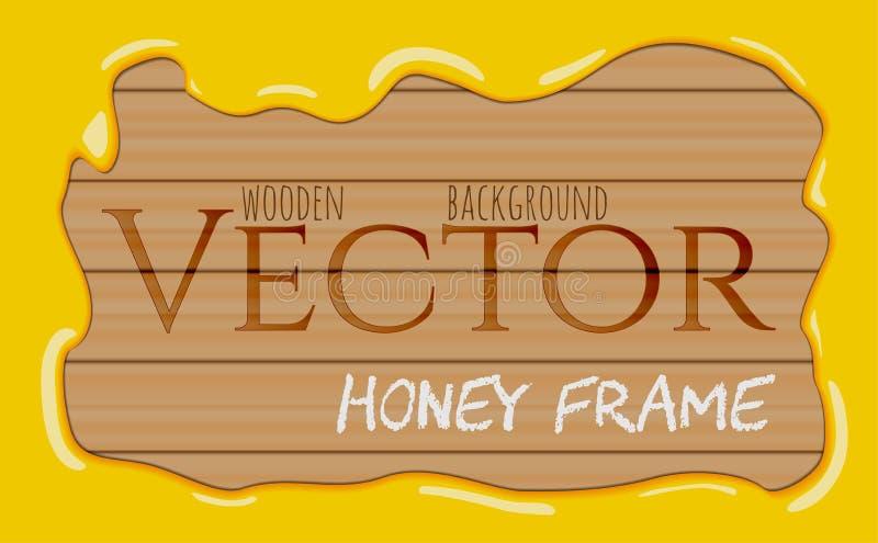 Marco de las gotas del jarabe de la miel que fluye en fondo de madera ilustración del vector