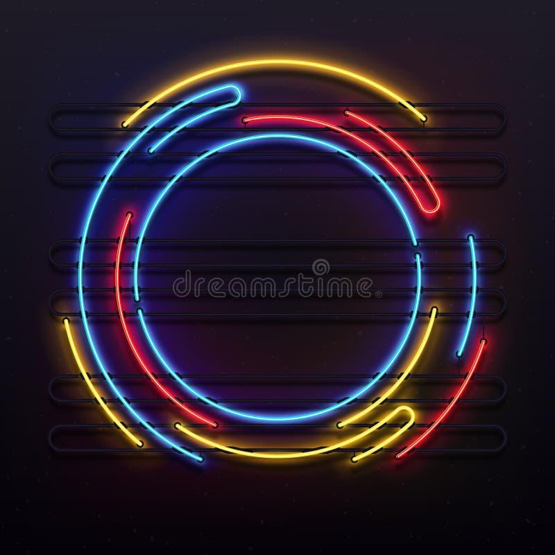 Marco de las luces de neón del círculo Luz redonda colorida de la lámpara del tubo en marco Ejemplo eléctrico del fondo del vecto ilustración del vector