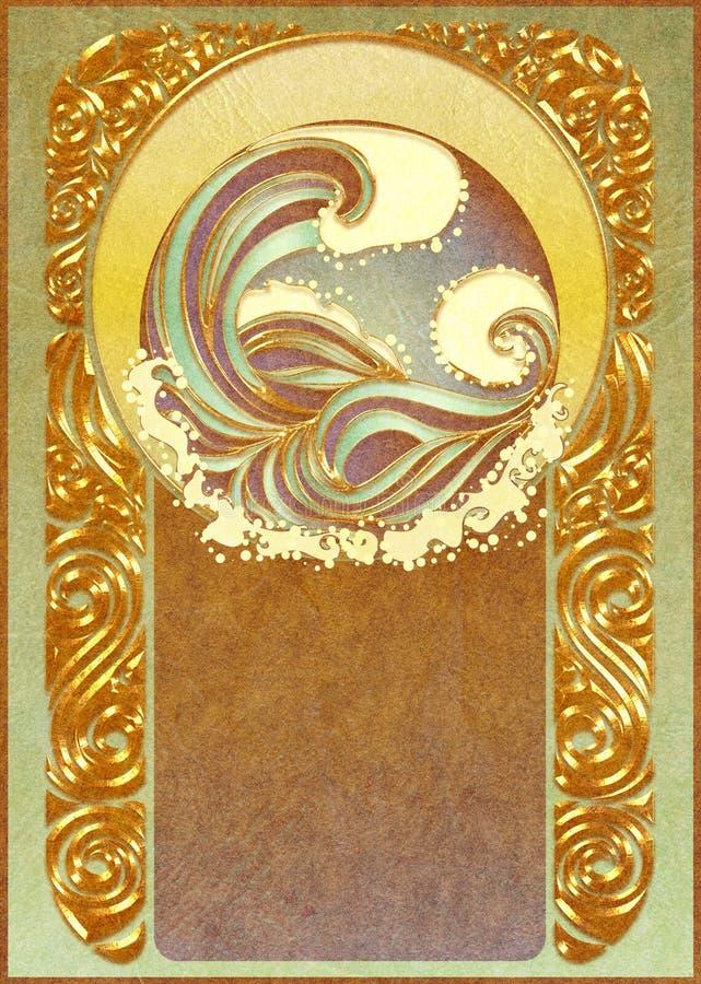 Marco de las ondas del mar del art nouveau libre illustration