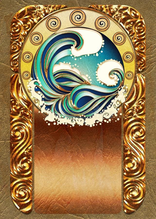 Marco de las ondas del mar del art nouveau ilustración del vector