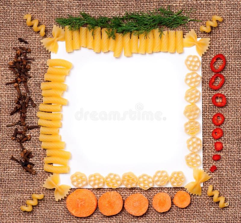 Marco de las pastas imagen de archivo libre de regalías