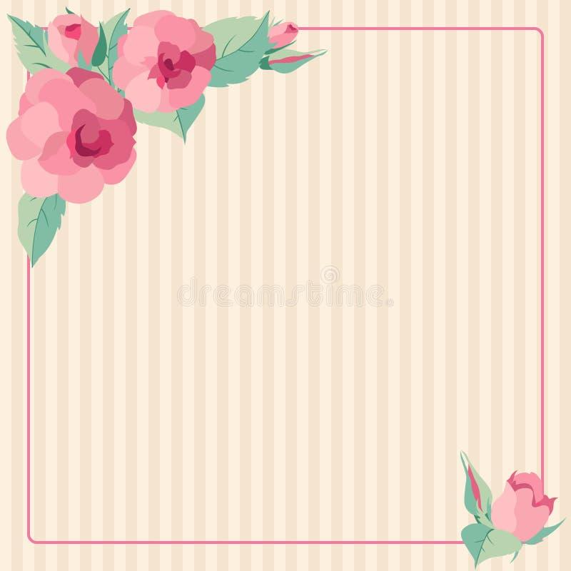 Marco de las rosas de los vintages stock de ilustración