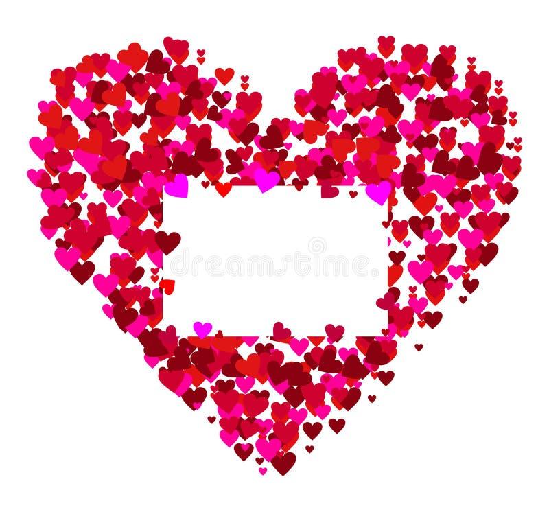 Marco de las tarjetas del día de San Valentín - vector stock de ilustración