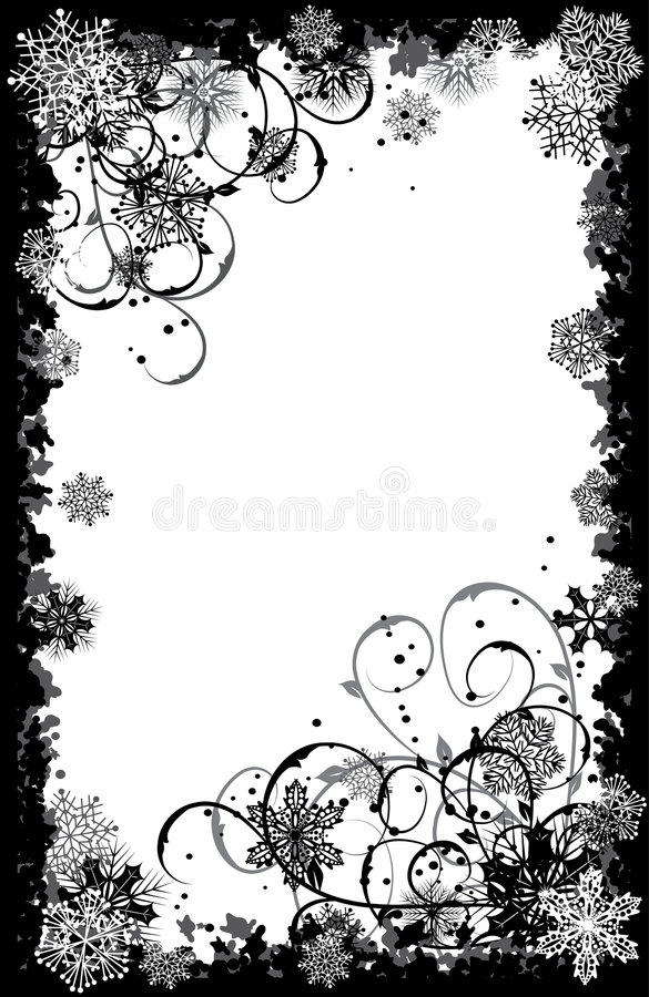 Marco de los copos de nieve de Grunge, vector stock de ilustración