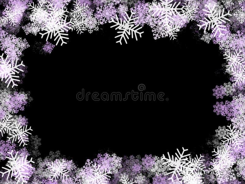 Marco de los copos de nieve: púrpura stock de ilustración