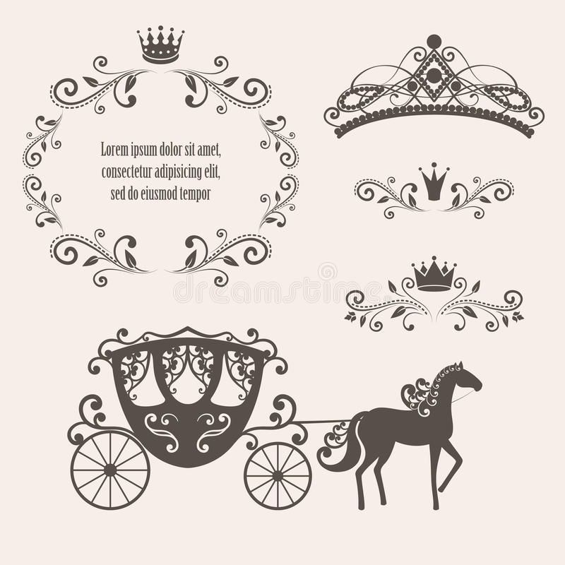 marco de los derechos del vintage con la corona ilustración del vector