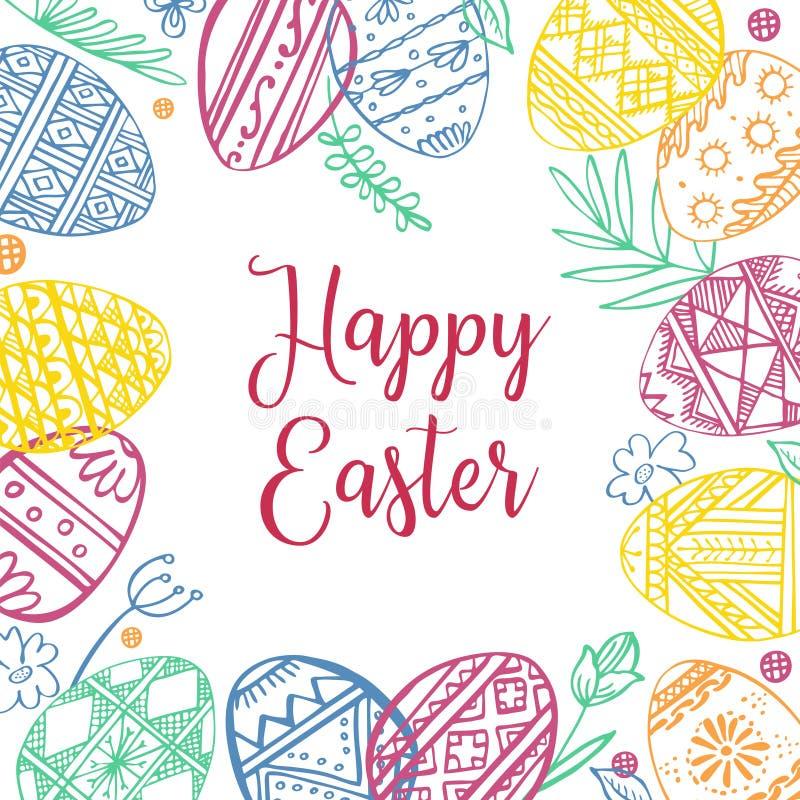 Marco de los huevos de Pascua del color con las plantas y el saludo Ejemplo exhausto del bosquejo del vector de la tinta del esqu ilustración del vector