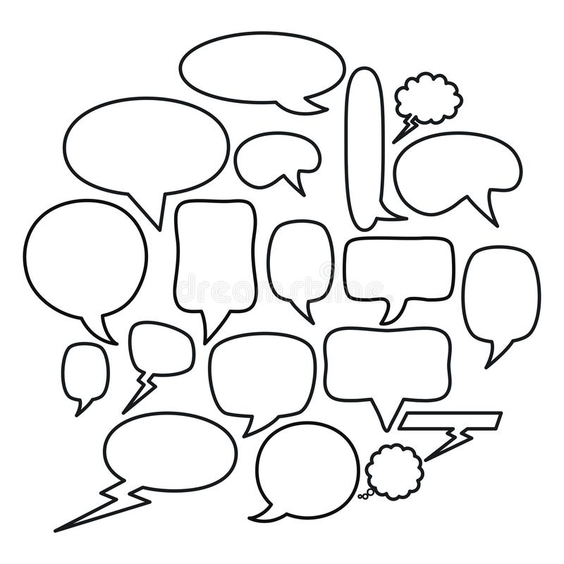Marco de los iconos de los mensajes de las burbujas del discurso e illustraitor cuadrados del vector de los elementos del cumplea ilustración del vector