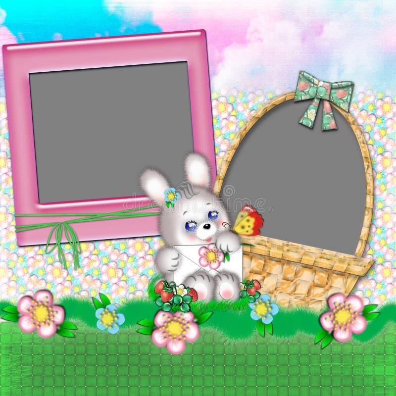 Marco de los niños con un conejo. ilustración del vector