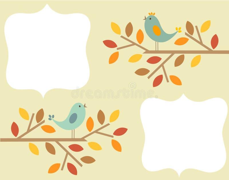 Marco de los pájaros del otoño ilustración del vector