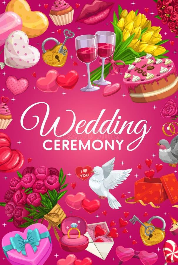 Marco de los símbolos del matrimonio, artículo del rito de la ceremonia de boda stock de ilustración