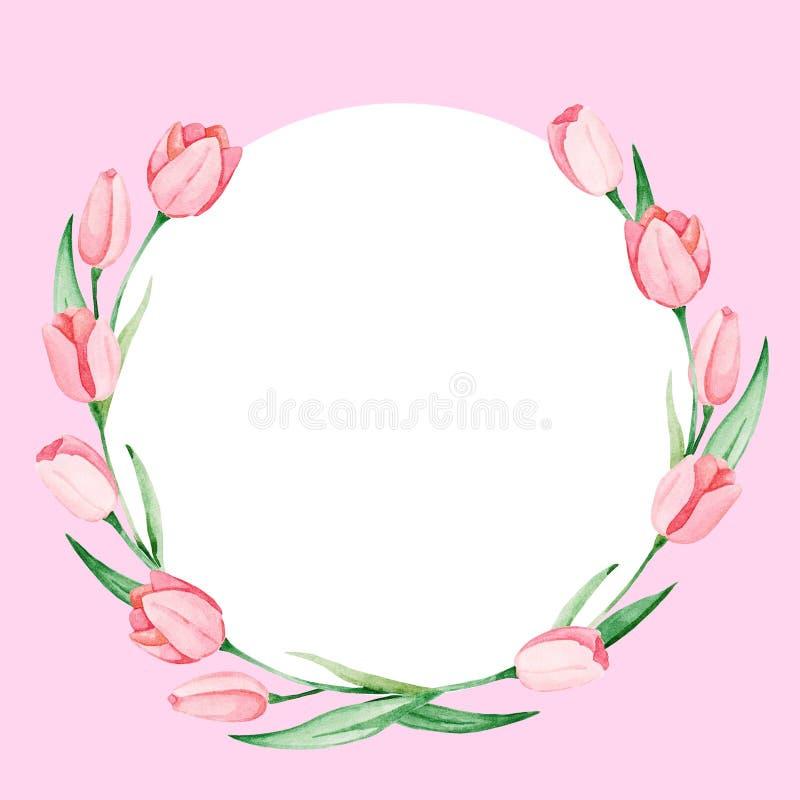Marco de los tulipanes de la acuarela Día internacional del ` s de las mujeres Para el diseño, la tarjeta, la impresión o el fond libre illustration