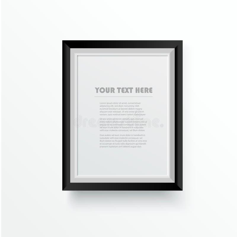 Marco de madera blanco de la foto con la frontera negra Decoraci?n y concepto interior Ilustraci?n del vector libre illustration