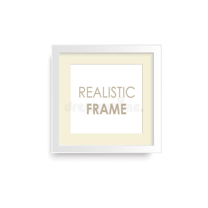 Marco de madera blanco realista de la foto Vector stock de ilustración
