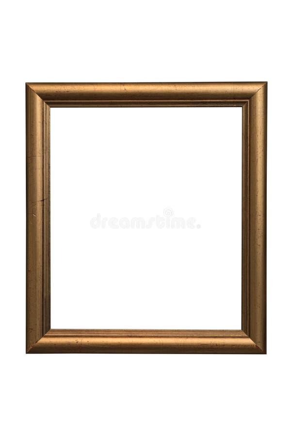 Marco de madera de bronce para las fotografías y las pinturas aisladas en el fondo blanco trayectoria ahorrada fotografía de archivo libre de regalías