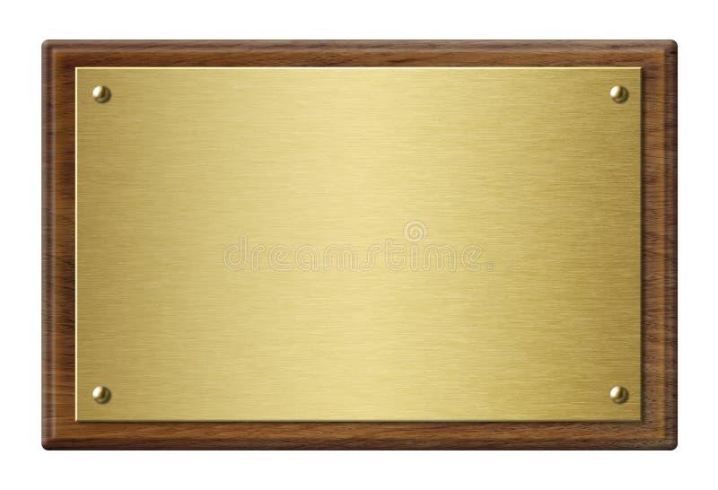 Marco de madera con el ejemplo de la placa de metal del oro 3d imagenes de archivo