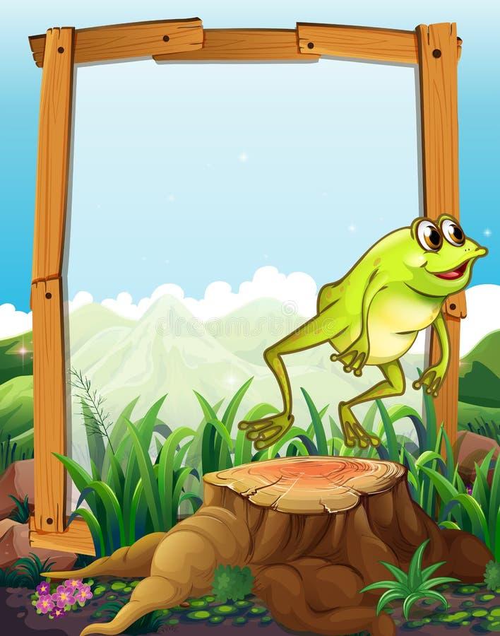 Marco de madera con el fondo de salto de la rana ilustración del vector