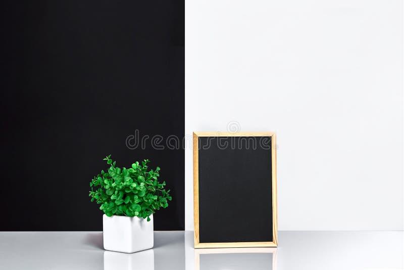 Marco de madera con el lugar negro para el texto Mofa para arriba Interior elegante del sitio Planta verde en un pote blanco en l imagenes de archivo
