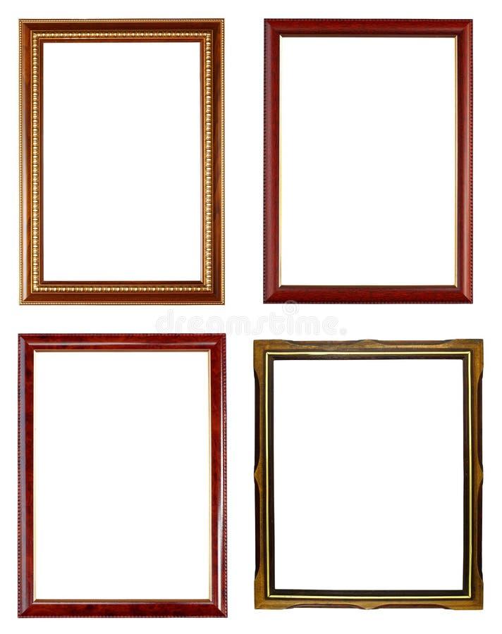 Marco de madera cuatro en blanco fotografía de archivo