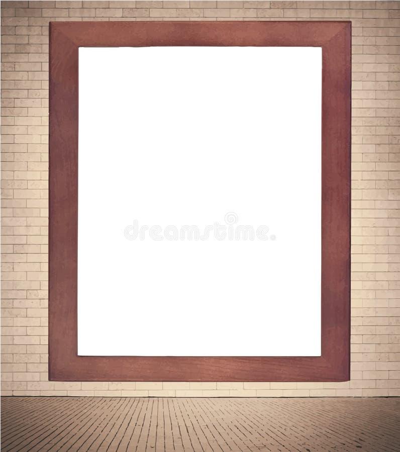 Marco de madera de Brown con la ejecución blanca del espacio de la copia ilustración del vector