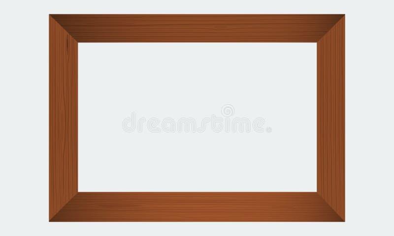 Marco de madera de la foto Frontera de madera realista stock de ilustración