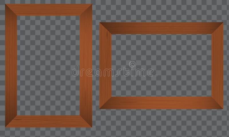 Marco de madera de la foto Frontera de madera realista ilustración del vector