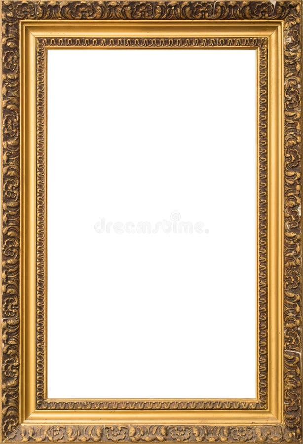 Marco de madera de oro antiguo aislado en el fondo blanco foto de archivo libre de regalías