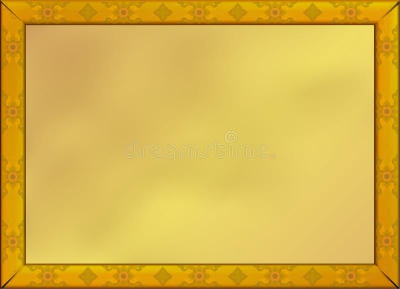 Marco de madera de oro del vintage del viejo grunge en fondo del oro ilustración del vector