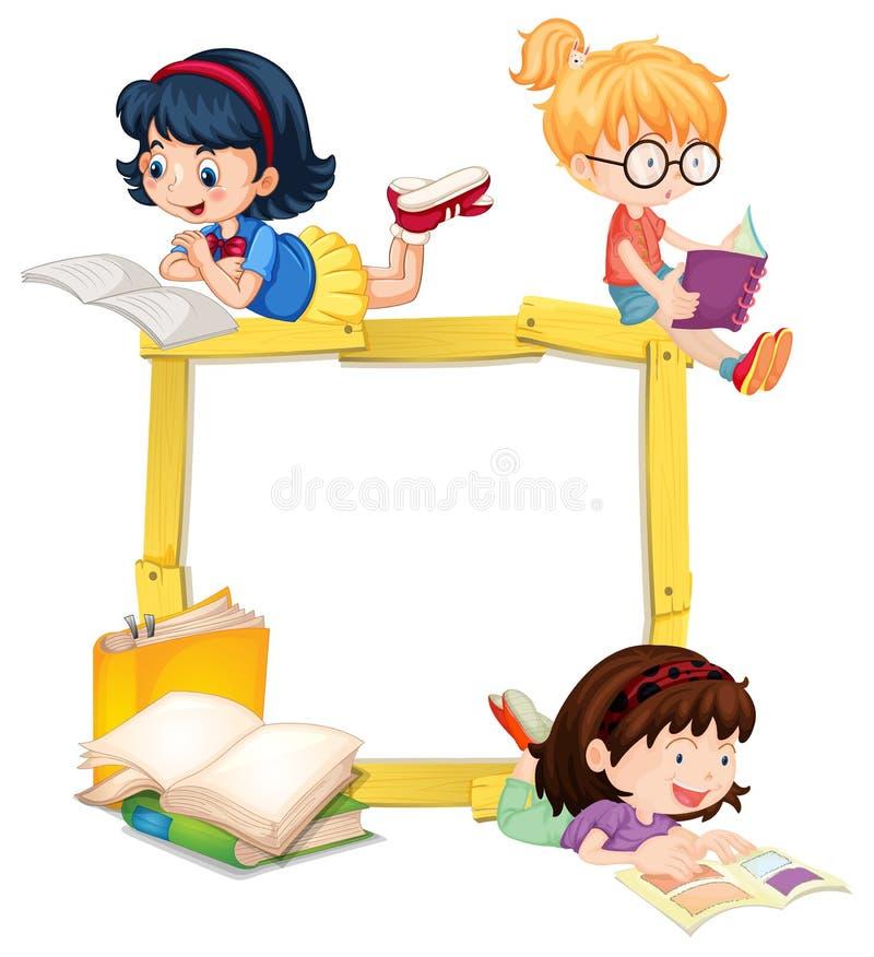 Marco de madera del libro de lectura de las muchachas ilustración del vector