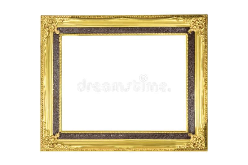 Marco de madera del oro para casarse o la fotografía de la familia aislado en blanco fotografía de archivo libre de regalías