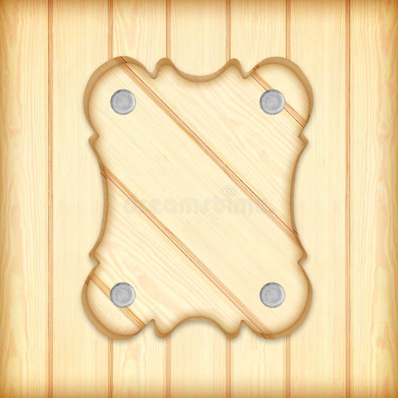 Marco de madera del tablero de la muestra en fondo de madera de los tablones libre illustration