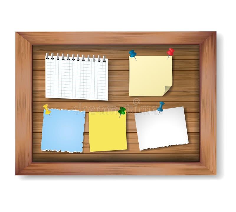Marco de madera del vector realista con los trozos de papel fijados Notas y papeles del mensaje en tablón de anuncios de madera stock de ilustración