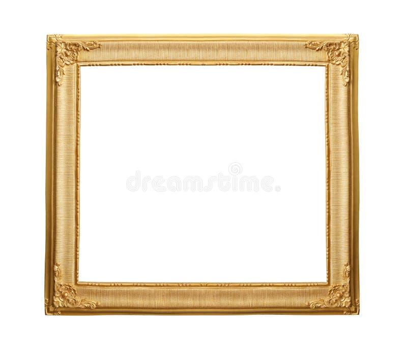 Marco de madera del vintage del oro aislado en el fondo blanco imagen de archivo