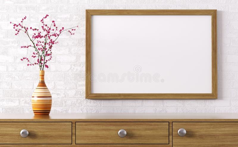 Marco de madera en blanco sobre la representación del aparador 3d stock de ilustración