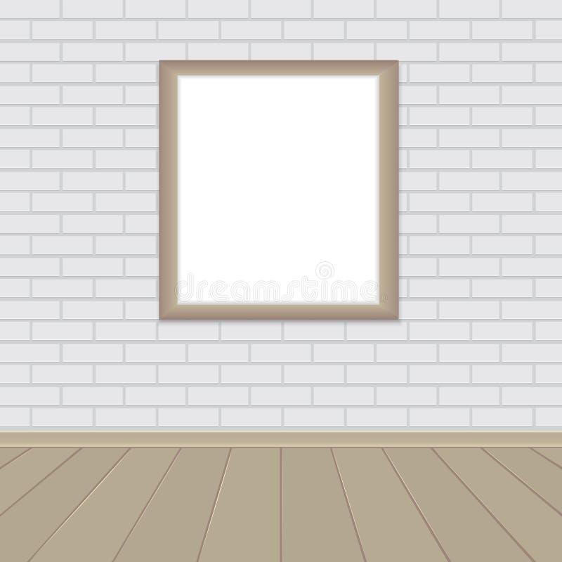 Marco de madera en pared de ladrillo del sitio ilustración del vector