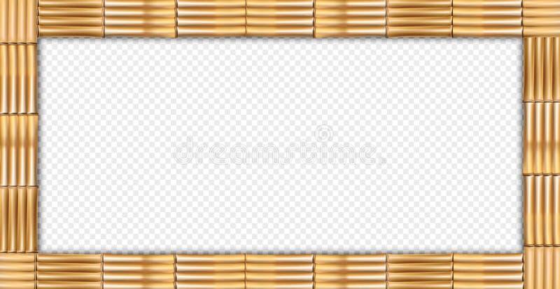 Marco de madera de la frontera de los troncos de bambú del marrón del rectángulo ilustración del vector