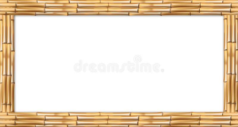 Marco de madera de la frontera de los troncos de bambú del marrón del rectángulo stock de ilustración